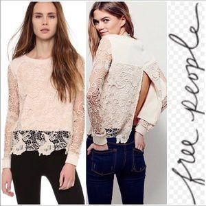 Free People cream, crochet open-back SWEATER. XS
